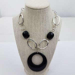 Jewelry - Mod Statement Necklace Black Silver Tone Chunky Re